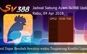 Jadwal Laga Ayam SV388 04 April 2018